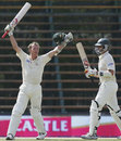 Brett Lee and Michael Kasprowicz celebrate the victory, South Africa v Australia, 3rd Test, Johannesburg, 5th day, April 4, 2006