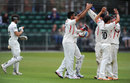 Ajmal Shahzad celebrates taking the wicket of Zafar Ansari