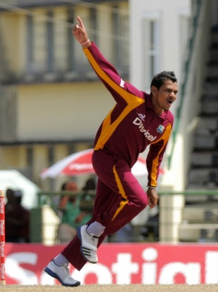 Sunil Narine celebrates one of his five wickets, West Indies v New Zealand, 5th ODI, Basseterre, July 16, 2012