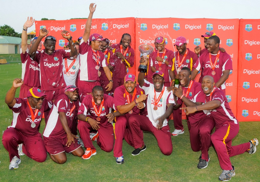 West Indies celebrate their 4-1 series win