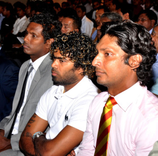 Angelo Mathews, Lasith Malinga and Kumar Sangakkara at the launch of the inaugural Sri Lanka Premier League, Colombo, July 16, 2012