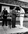 Peter May hands the Man of the Match award to Bob Barber, Warwickshire v Worcestershire, Gillette Cup final, Lord's, September 3, 1966