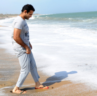Irfan Pathan on the beach in Hambantota, July 20, 2012