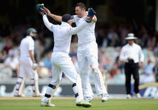 Tim Bresnan and Matt Prior celebrate the end of South Africa's second-wicket partnership, England v South Africa, 1st Investec Test, The Oval, 3rd day, July 21, 2012