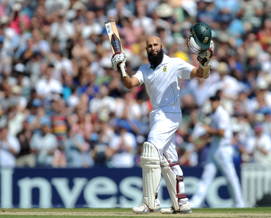 Hashim Amla takes in the applause for his double hundred