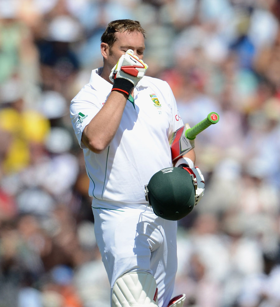 Jacques Kallis points to his eye after reaching his hundred