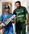 Shahid Afridi and Sachin Tendulkar share a laugh, India v Pakistan, 2nd semi-final, World Cup 2011, Mohali, March 30, 2011