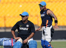 MS Dhoni and Virat Kohli at a training session