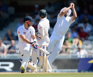 Matt Prior top-edged a sweep to slip, England v South Africa, 1st Test, The Oval, 5th Day, July, 23, 2012