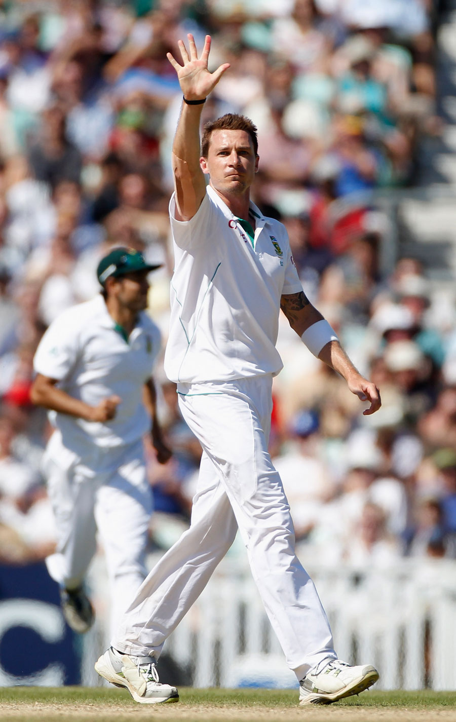 Dale Steyn dismissed Graeme Swann to claim his fifth wicket, England v South Africa, 1st Test, The Oval, 5th day, July 23, 2012