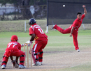 Li Kai Ming picked up another wicket for Hong Kong against Singapore at the Air Niugini Super Series 2012 T20 at Amini Park, Port Moresby