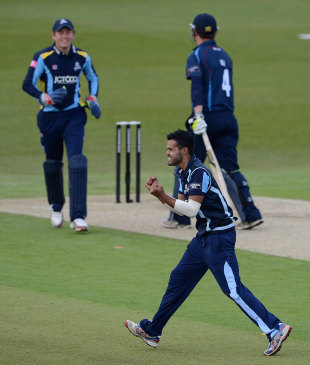 Azeem Rafiq celebrates a wicket, Yorkshire v Kent, CB40, Headingley, May 6, 2012