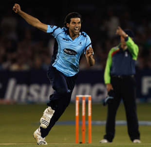 Amjad Khan took the wicket of Hamish Marshall, Sussex v Gloucestershire, Friends Life T20, Hove, July, 24, 2012