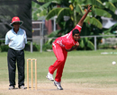 Aditya Kanthan bowling for Hong Kong at the Air Niugini Super Series 2012 in Port Moresby