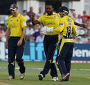 Dimitri Mascarenhas dismissed danger man Michael Lumb, Nottinghamshire v Hampshire, FLt20 quarter-final, Trent Bridge, July 25, 2012