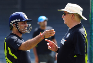Virender Sehwag in discussion with Duncan Fletcher at a training session, Colombo, July 26, 2012