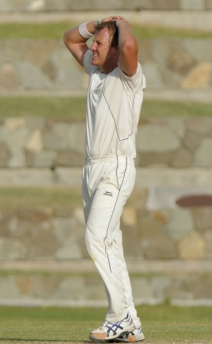 Neil Wagner went wicketless on his first day of Test bowling, West Indies v New Zealand, 1st Test, Antigua, 2nd day, July 26, 2012