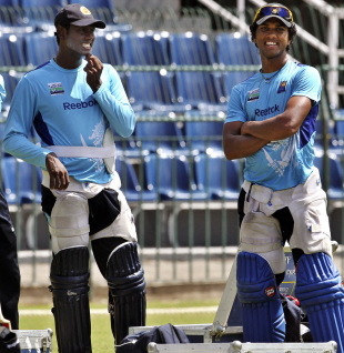 Angelo Mathews with Dinesh Chandimal at a practise session, Colombo, July 27 2012