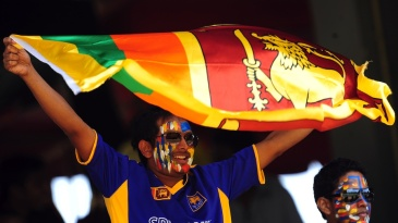A Sri Lankan fan holds up his flag