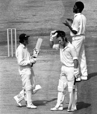 Dennis Amiss is congratulated for his double-century by team-mate Alan Knott and bowler Michael Holding, England v West Indies, 5th Test, The Oval, 4th day, August 16, 1976