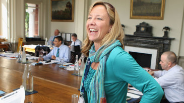Clare Connor, the ECB's head of women's cricket, at an ICC meeting
