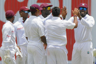 West Indies celebrate a strike, West Indies v New Zealand, 1st Test, Antigua, 5th day, July 29, 2012