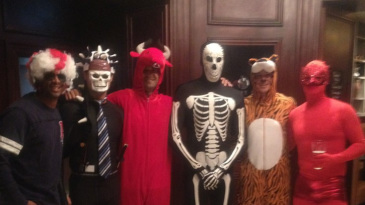 The South Africans prepare for their fancy dress evening