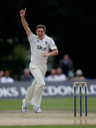 Chris Woakes celebrates taking a wicket, County Championship, Division One, Uxbridge, 1st day, August 1, 2012