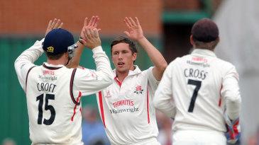 Simon Kerrigan celebrates a dismissal