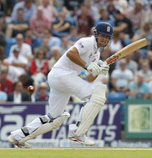 Alastair Cook plays into the leg side at the start of England's reply, 2nd Investec Test, Headingley, 2nd day, August 3, 2012