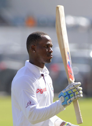 Marlon Samuels made 123 before he was dismissed, West Indies v New Zealand, 2nd Test, Jamaica, 2nd day, August 3, 2012