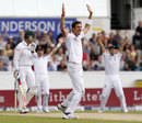 Steven Finn appeals for an lbw decision against Jacques Rudolph