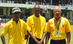 Former Jamaica and West Indies players Uton Dowe, Richard Austin and Jeff Dujon during the Jamaica 50 parade
