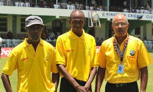 Former Jamaica and West Indies players Uton Dowe, Richard Austin and Jeff Dujon during the Jamaica 50 parade