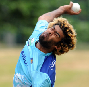 Lasith Malinga bowls in a training session, Pallekele, August 6, 2012