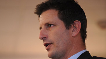 Michael Kasprowicz speaks during the launch of the Under-19 World Cup