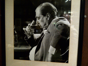 A picture of John Arlott at Brett's restaurant in Leeds