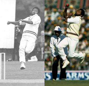 Composite: Andy Roberts' change in bowling action