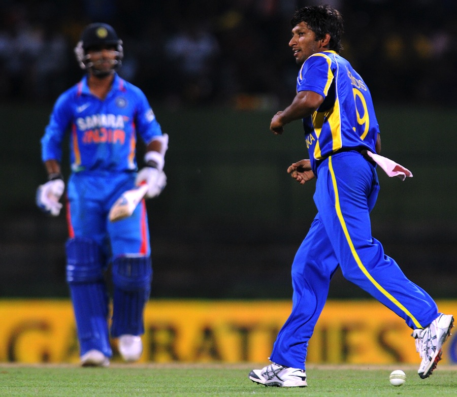 Jeevan Mendis completes a catch off his own bowling