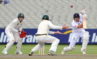 Nick Compton drives during his innings of 46