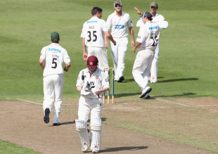Leicestershire's players celebrate the dismissal of Niall O'Brien, Northamptonshire v Leicestershire, County Championship, Division Two, Northampton, 1st day, August 10, 2012