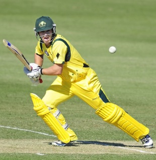 Travis Head plays one through the off-side, Australia v England, ICC U-19 World Cup 2012, Townsville, August 11, 2012