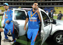 Virat Kohli and MS Dhoni exit the prize jeep after winning the series, Sri Lanka v India, 5th ODI, Pallekele, August 4, 2012
