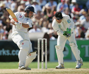Andrew Strauss cuts on his way to 177, New Zealand v England, 3rd Test, Napier, 3rd day, March 24, 2008