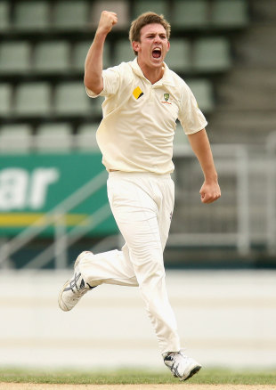 Mitchell Marsh celebrates a wicket, Australia Under-19 v India Under-19, 1st Youth Test, Hobart, 2nd day, April 12, 2009