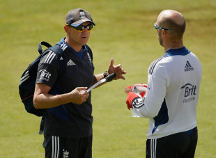 Andy Flower chats with Matt Prior who tried to act as peacemaker with Kevin Pietersen, Lord's, August 14, 2012