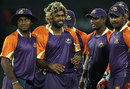 Lasith Malinga celebrates one of his four wickets with his team-mates, Ruhuna Royals v Uthura Rudras, SLPL, Colombo, August 14, 2012