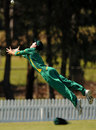South Africa captain Chad Bowes puts in an acrobatic fielding effort
