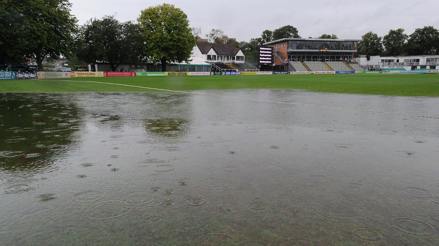Heavy rain returned to New Road and prevented any play on day one