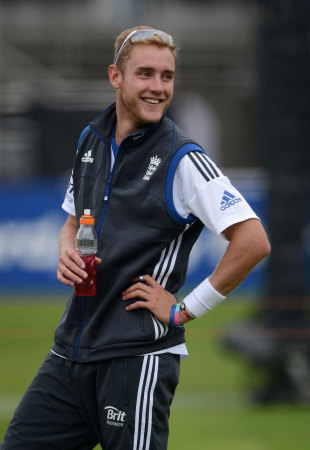 Stuart Broad was all smiles having shrugged off his involvement in the Kevin Pietersen twitter parody account, Lord's, August, 15, 2012